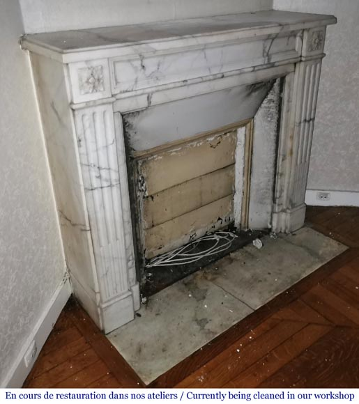 Antique Louis XVI style fireplace with rosette in Arabescato marble-2