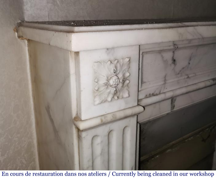 Antique Louis XVI style fireplace with rosette in Arabescato marble-3