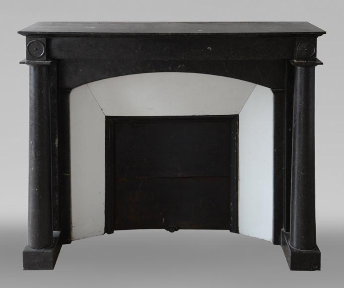 Antique Empire style fireplace in Petit Granit Belge marble-0