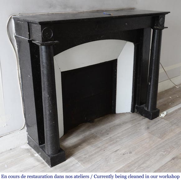 Antique Empire style fireplace in Petit Granit Belge marble-2