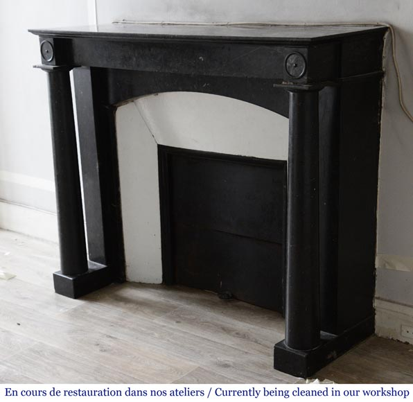 Antique Empire style fireplace in Petit Granit Belge marble-5