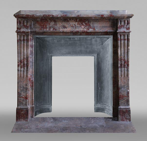 Antique Louis XVI style mantel in Enjugerais marble with its hearth floor-0