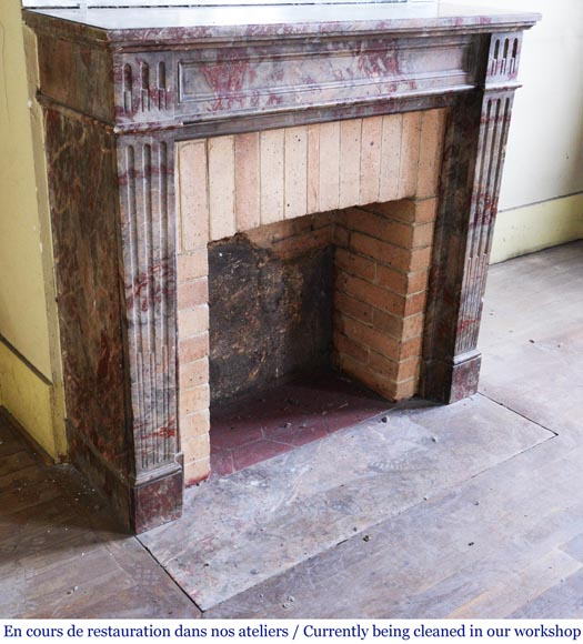 Antique Louis XVI style mantel in Enjugerais marble with its hearth floor-2