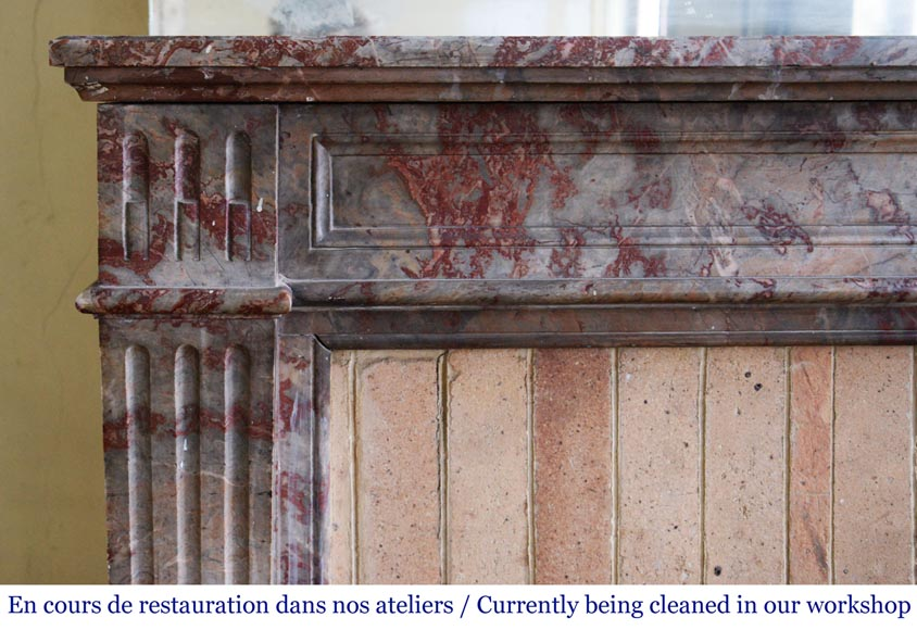 Antique Louis XVI style mantel in Enjugerais marble with its hearth floor-3