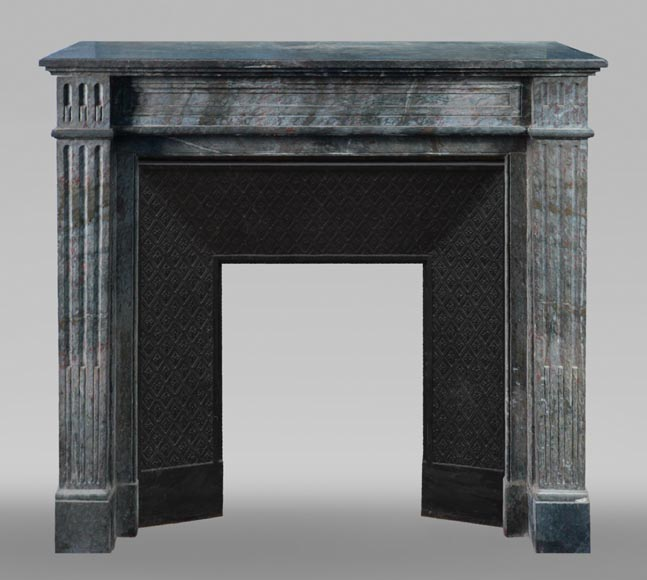Antique Louis XVI style mantel in grey marble-0