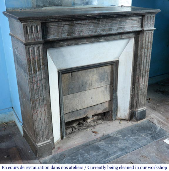 Antique Louis XVI style mantel in grey marble-2