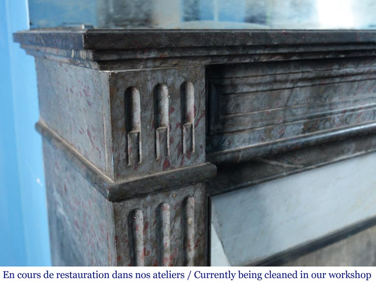 Antique Louis XVI style mantel in grey marble-3