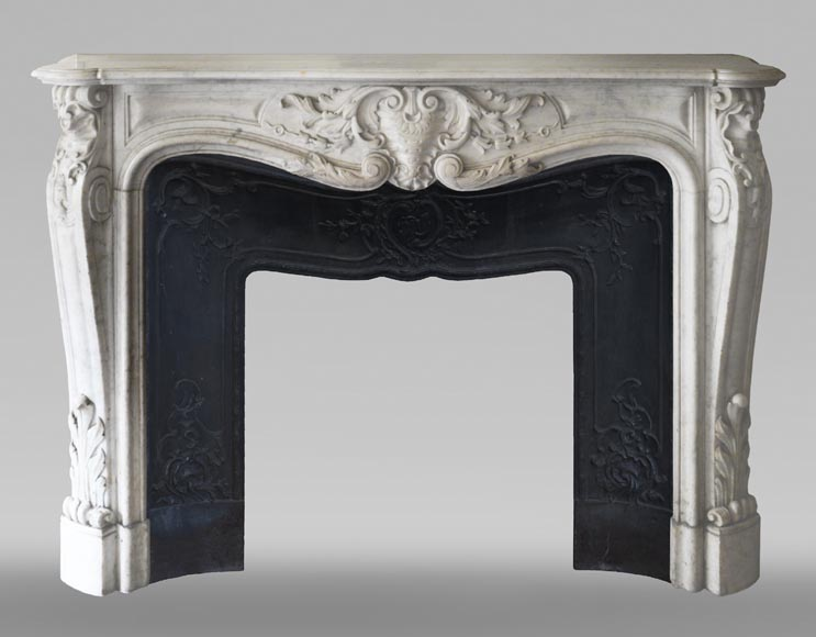 Antique Louis XV style mantel in richly carved Carrara marble.-0