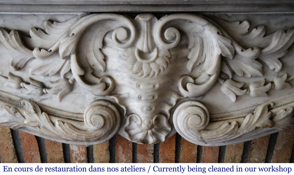 Antique Louis XV style mantel in richly carved Carrara marble.-1