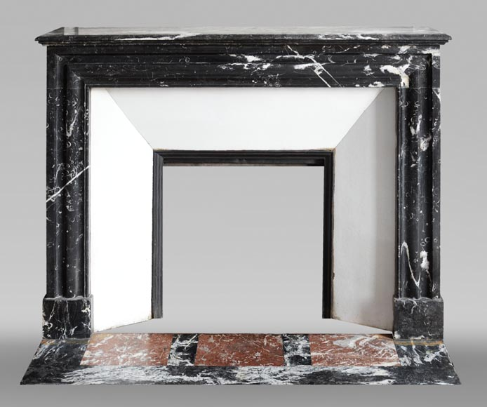 Antique Louis XIV style mantel in black Marquina marble.-0