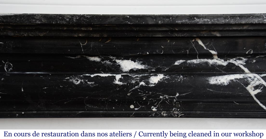 Antique Louis XIV style mantel in black Marquina marble.-1