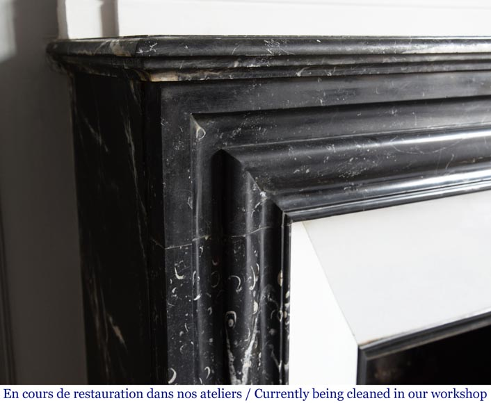 Antique Louis XIV style mantel in black Marquina marble.-3