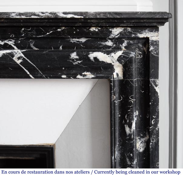 Antique Louis XIV style mantel in black Marquina marble.-6