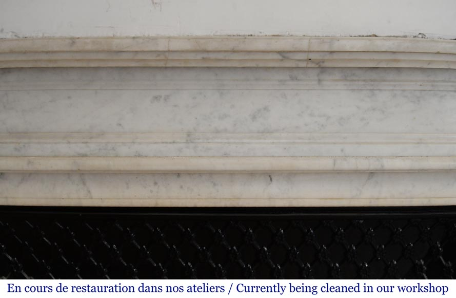 Antique Louis XVI style mantel in veined Carrara marble-1