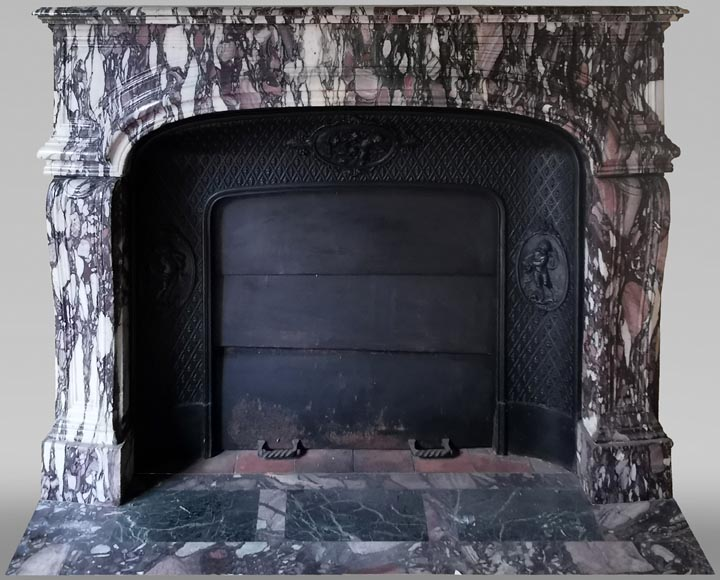 Important antique Regence style mantel in Violet Breccia marble, end of the 19th century-0