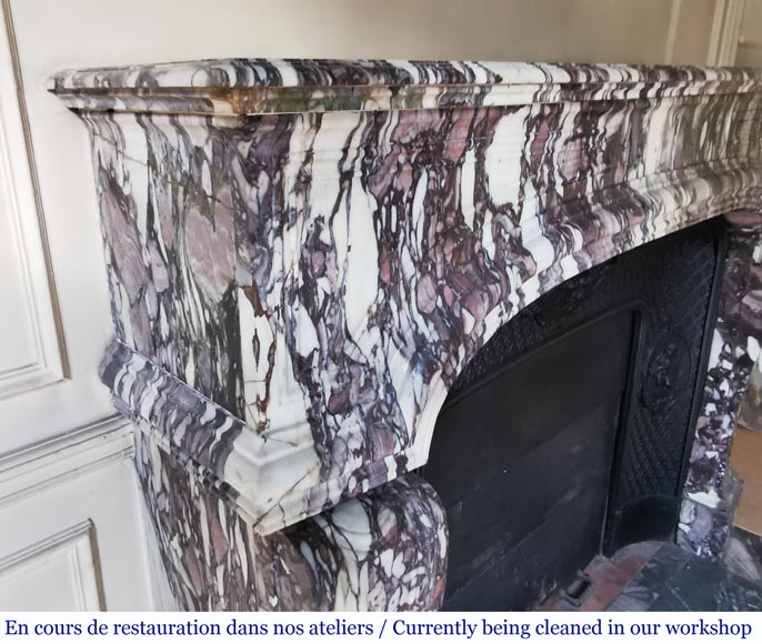 Important antique Regence style mantel in Violet Breccia marble, end of the 19th century-3