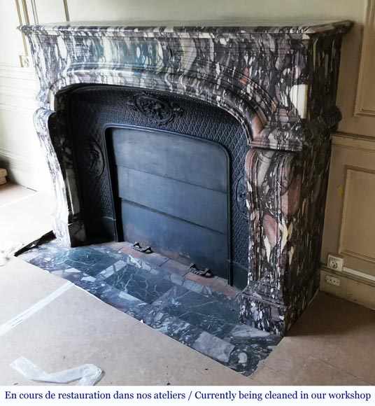 Important antique Regence style mantel in Violet Breccia marble, end of the 19th century-5