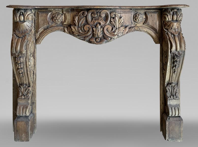 Antique Louis XV period mantel in wood, richly sculpted-0