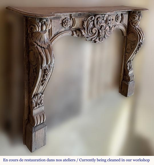 Antique Louis XV period mantel in wood, richly sculpted-3