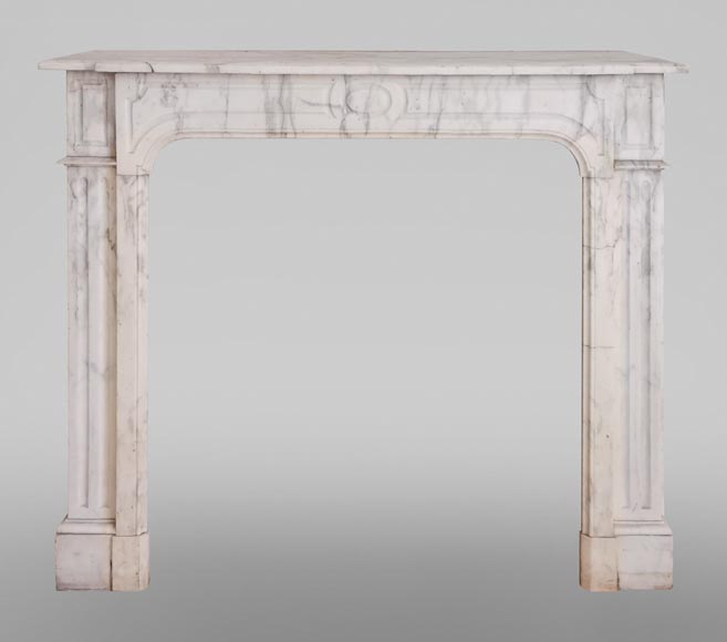 Antique fireplace in Arabescato marble-0