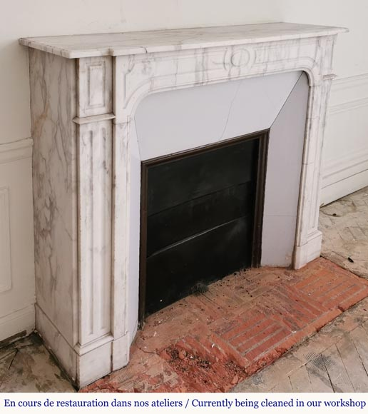 Antique fireplace in Arabescato marble-2