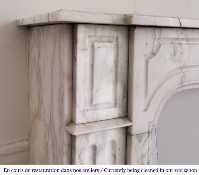 Antique fireplace in Arabescato marble-3