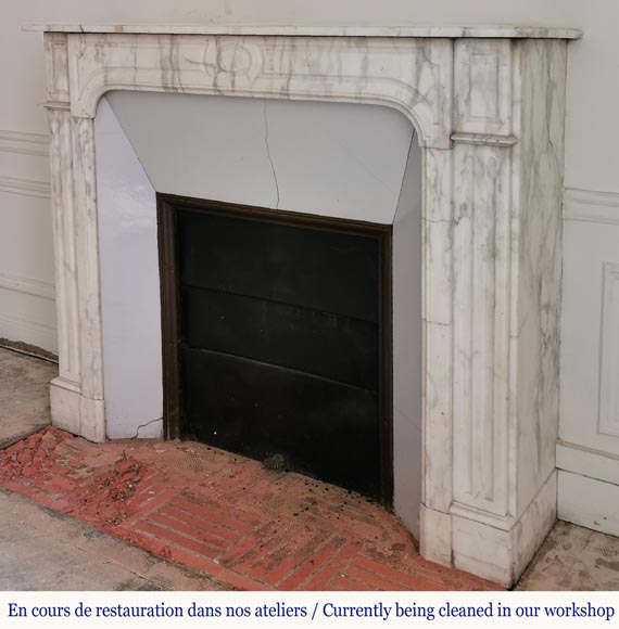 Antique fireplace in Arabescato marble-5