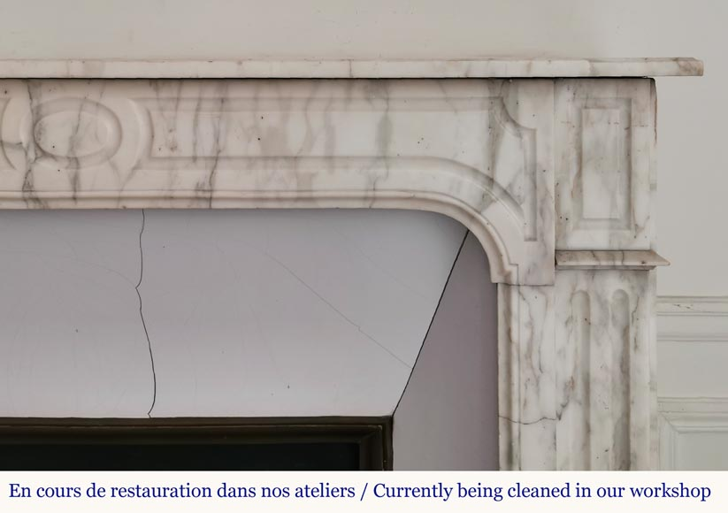 Antique fireplace in Arabescato marble-6