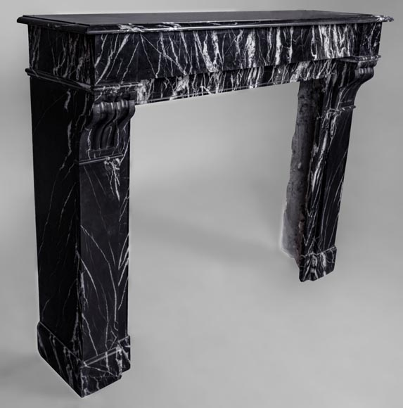 Antique Napoléon III style fireplace with modillions, Marquina marble-2