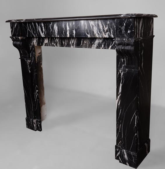Antique Napoléon III style fireplace with modillions, Marquina marble-6