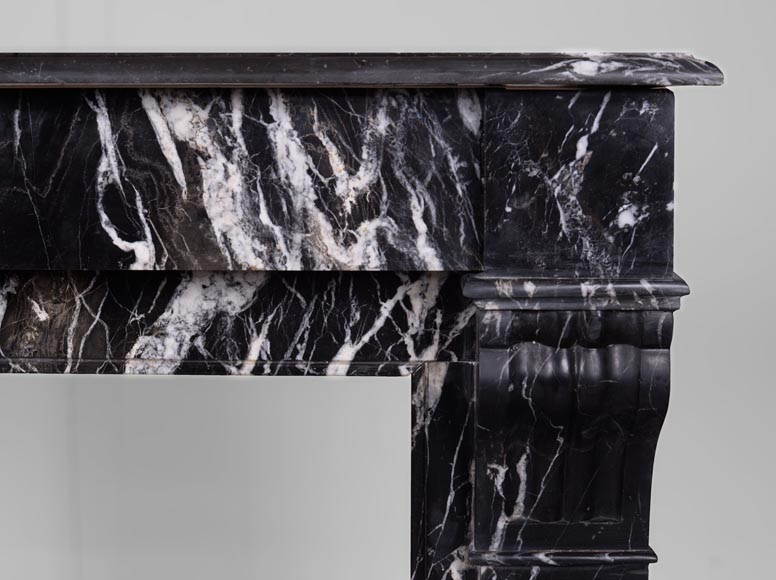 Antique Napoléon III style fireplace with modillions, Marquina marble-7