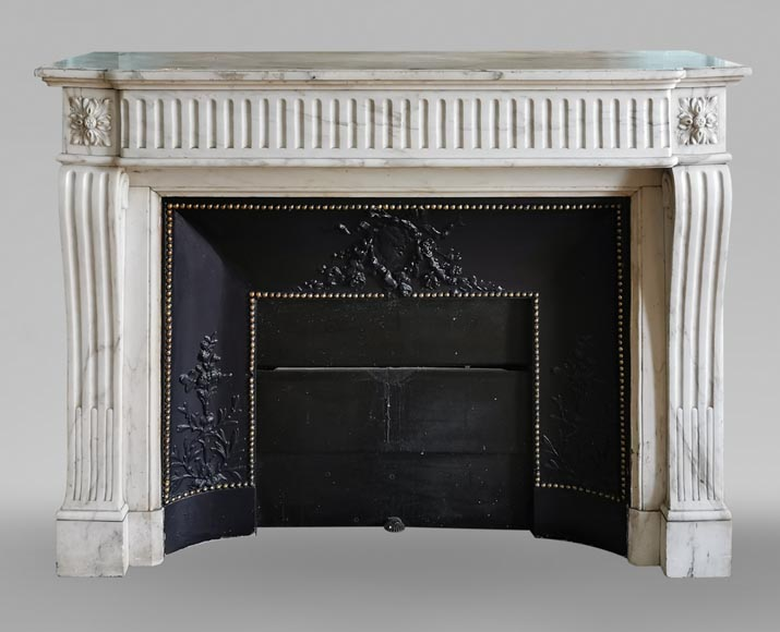 Louis XVI style fireplace with flutes in Carrara marble-0
