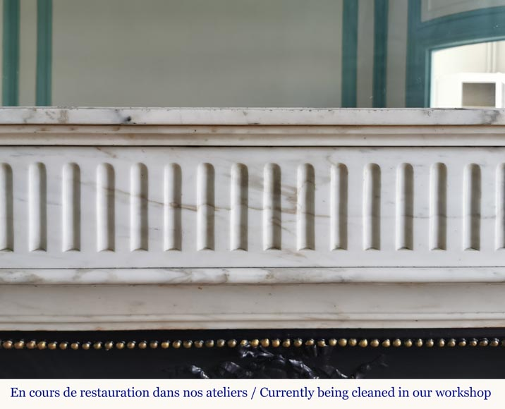 Louis XVI style fireplace with flutes in Carrara marble-1