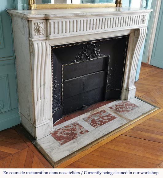 Louis XVI style fireplace with flutes in Carrara marble-2