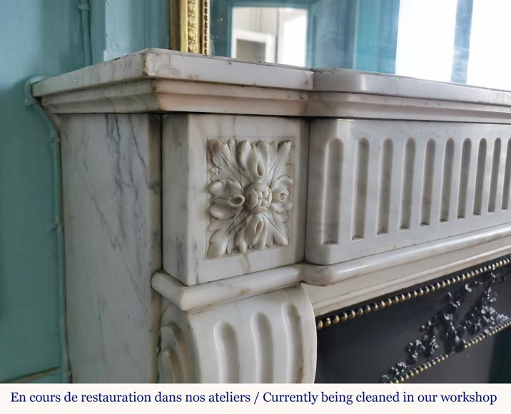 Louis XVI style fireplace with flutes in Carrara marble-3