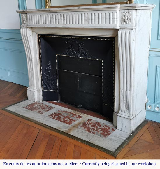 Louis XVI style fireplace with flutes in Carrara marble-5