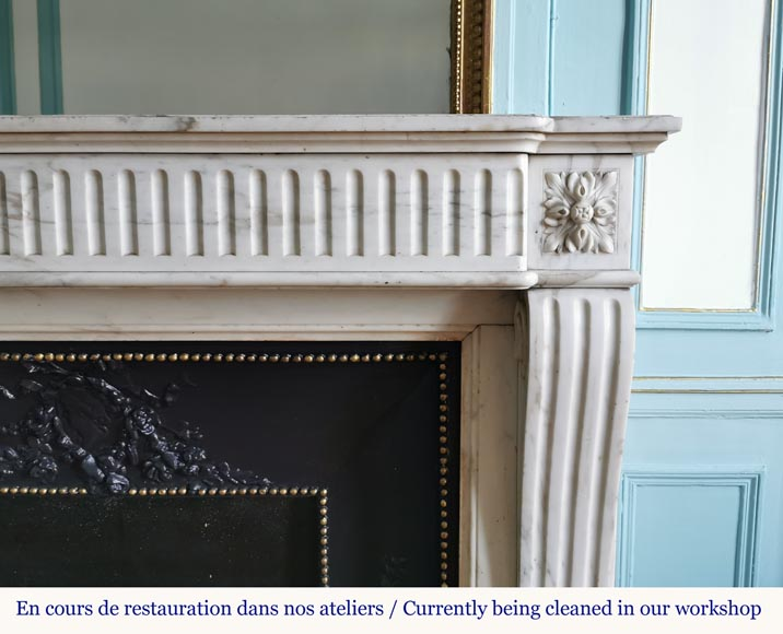 Louis XVI style fireplace with flutes in Carrara marble-6