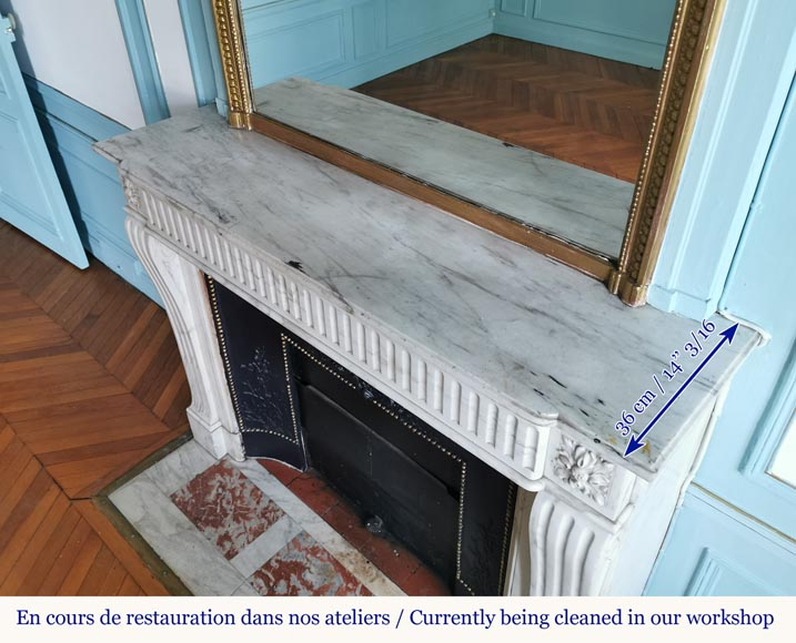 Louis XVI style fireplace with flutes in Carrara marble-8