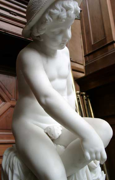 « LE PETIT PECHEUR » Marble Statue exhibited at the Salon of 1859-4