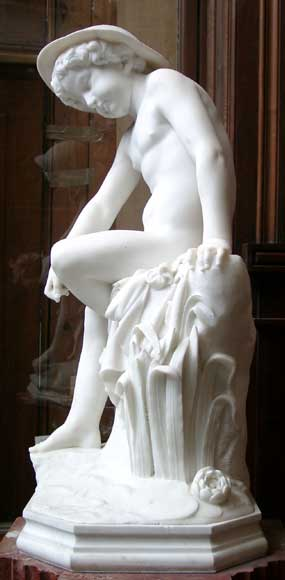 « LE PETIT PECHEUR » Marble Statue exhibited at the Salon of 1859-6