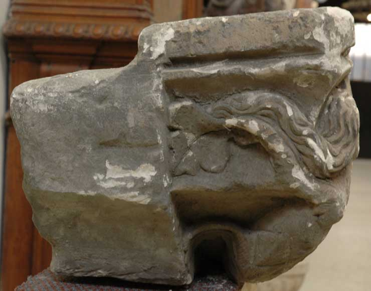 Gothic stone capital with coat of arms-4