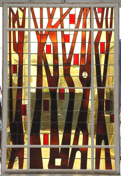 1950's stained glass window-0