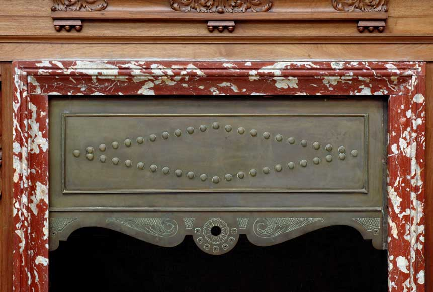 Mahogany fireplace mantel and trumeau-6