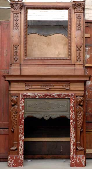 Mahogany fireplace mantel and trumeau