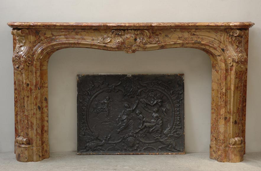 Large and important antique Louis XV style fireplace in Breccia di Aleppo marble - Reference 9445