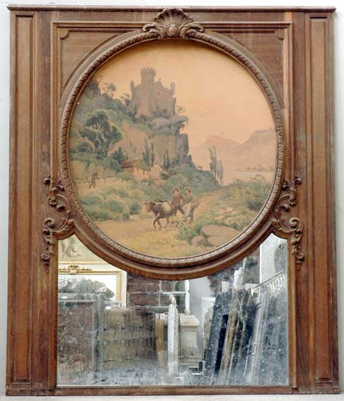 19th century Trumeau mirror with picture of a landscape on paper-0