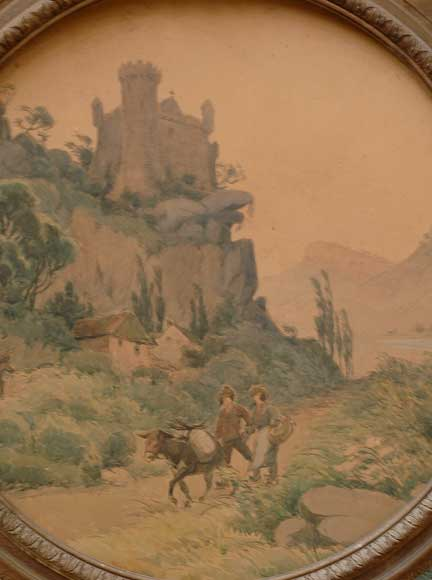 19th century Trumeau mirror with picture of a landscape on paper-2