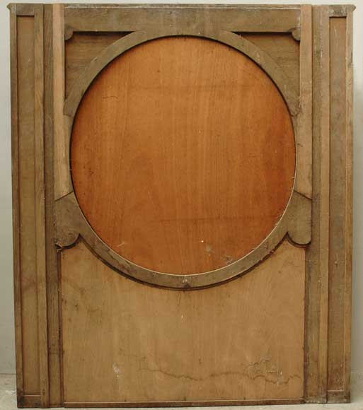 19th century Trumeau mirror with picture of a landscape on paper-11