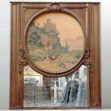 19th century Trumeau mirror with picture of a landscape on paper