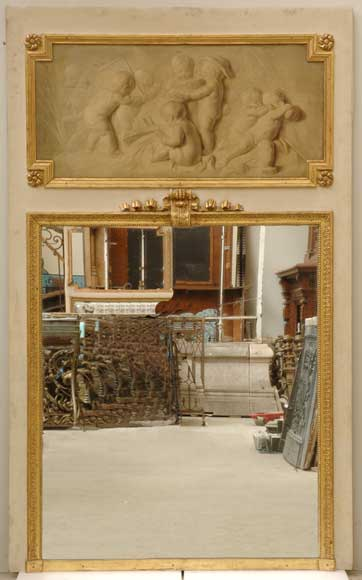 19th century trumeau mirror with 18th century putti painting-0